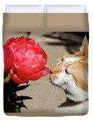 My Kitty In Love With A Peony Duvet Cover