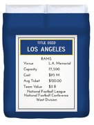 My Nfl Los Angeles Rams Monopoly Card Duvet Cover