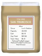 My Nfl San Francisco 49ers Monopoly Card Duvet Cover
