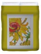 My Version Of A Van Gogh Sunflower Duvet Cover by AJ Brown