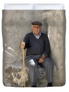 Mykonos Man With Walking Stick Duvet Cover