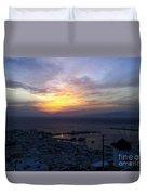 Mykonos Sunset Greece Duvet Cover