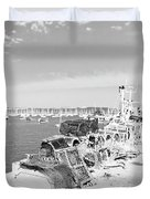 Mylor Quay In Cornwall Monochrome Duvet Cover