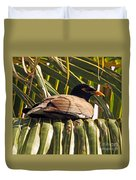 Myna In The Palms Duvet Cover