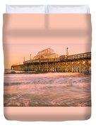 Myrtle Beach Apache Pier At Sunset Panorama Duvet Cover