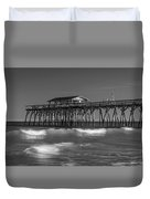 Myrtle Beach Pier Panorama In Black And White Duvet Cover