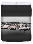 Mystic Seaport In Winter Duvet Cover