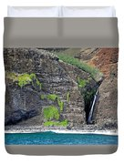 Na Pali Waterfall Duvet Cover