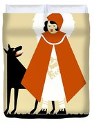 Naive Art Deco Little Red Riding Hood Duvet Cover