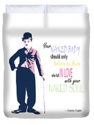 Naked Soul Quote Duvet Cover