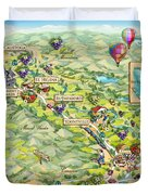 Napa Valley Illustrated Map Duvet Cover
