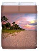 Naples Beach At Sunset, Florida Duvet Cover