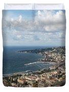 Naples Italy Aerial Perspective - Coastal Beauty Of Mergellina, Posillipo And Marechiaro Duvet Cover