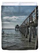 Naples Pier And Beach Fun Duvet Cover