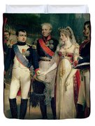 Napoleon Bonaparte Receiving Queen Louisa Of Prussia Duvet Cover by Nicolas Louis Francois Gosse