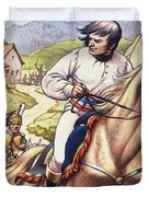 Napoleon Making A Narrow Escape With An Austrian Cavalry Patrol Close On His Heels Duvet Cover