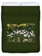 Narcissus And Daffodils In A Spring Flowerbed Duvet Cover