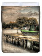 Narrow Boat And Jetty Duvet Cover
