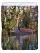 Narrow Boat On Wey Navigation - P4a16008 Duvet Cover