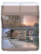 Narrow Boats Under The Bridge Duvet Cover