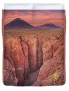 Narrow Canyon And Volcan Licancabur, Atacama Desert, Chile At Su Duvet Cover