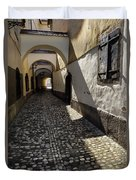 Narrow Cobblestone Alley Ribji Trg Or Fish Square From Cankar Qu Duvet Cover