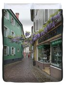 Narrow Street In Freiburg Duvet Cover