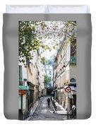 Narrow Streets Of The Latin Quarter In Paris, France Duvet Cover