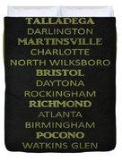 Nascar Track List Duvet Cover