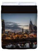Nashville Broadway Street Shelby Street Bridge Downtown Cityscape Art Duvet Cover