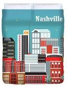 Nashville Tennessee Horizontal Skyline Duvet Cover