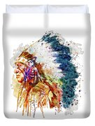 Native American Chief Side Face Duvet Cover
