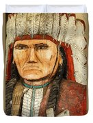 Native American Chief With Pipe Duvet Cover
