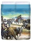 Native American Indians Killing American Bison Duvet Cover
