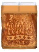 Native American Petroglyph On Orange Sandstone Duvet Cover