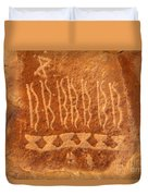 Native American Petroglyph On Orange Sandstone Duvet Cover