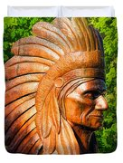 Native American Statue Duvet Cover