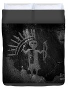Native American Warrior Petroglyph On Sandstone Duvet Cover