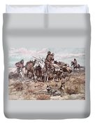 Native Americans Plains People Moving Camp Duvet Cover
