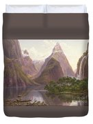 Native Figures In A Canoe At Milford Sound Duvet Cover