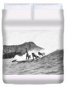Native Hawaiians Surfing Duvet Cover