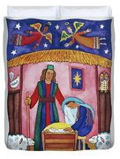 Nativity With Angels Duvet Cover