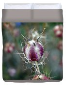 Natural Background With Purple Spiky Bulbs. Duvet Cover