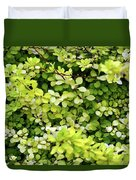 Natural Background With Small Yellow Green Leaves. Duvet Cover