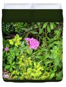 Natural Background With Vegetation And Purple Flowers. Duvet Cover