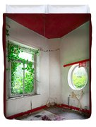 Nature Takes Over Oval Window -urbex Duvet Cover