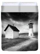 Nauset Light - Black And White Lighthouse Duvet Cover