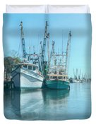 Nautical Aquas At The Harbor Duvet Cover