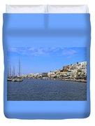 Naxos Greece Harbor Duvet Cover