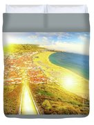 Nazare Skyline Sunset Duvet Cover